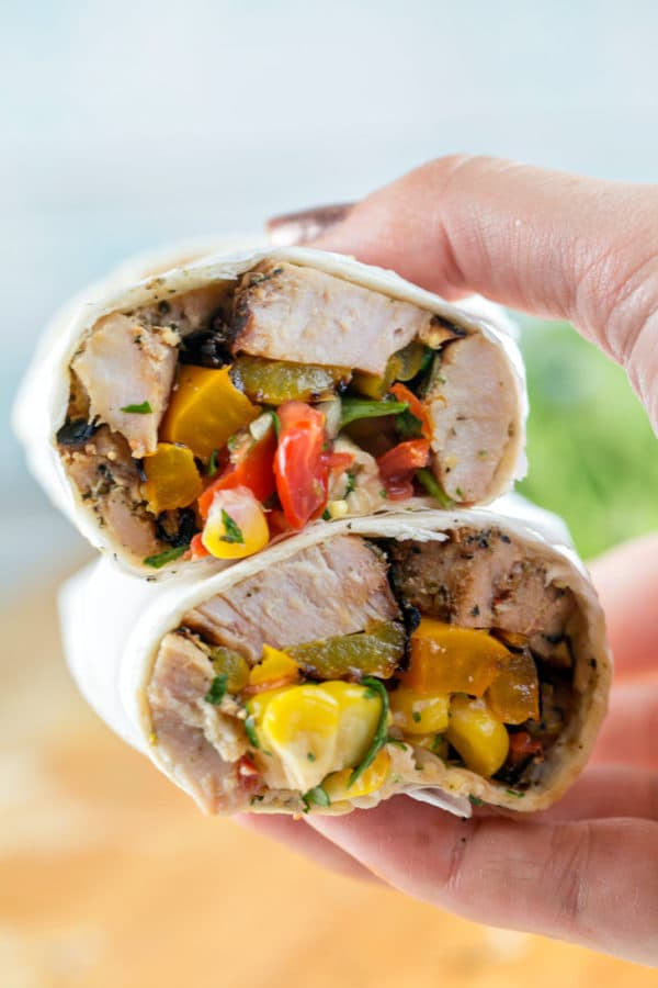 Grilled Pork Tenderloin Wraps: tuscan herb pork tenderloin with grilled peppers and onions and a homemade corn salsa wrapped in a corn tortilla. Perfect for dining on the go - great for picnics and packed lunches! {Bunsen Burner Bakery}
