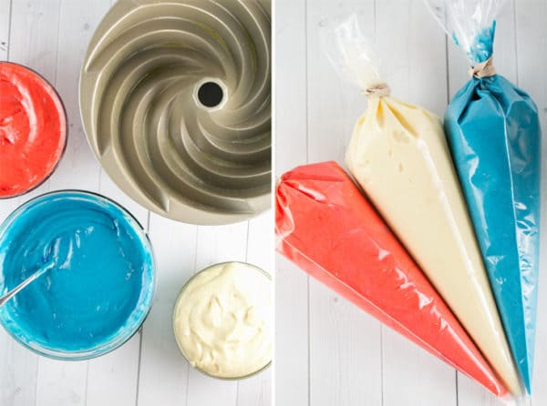 Red, white, and blue frosting in piping bags to make a patriotic spiral bundt cake.