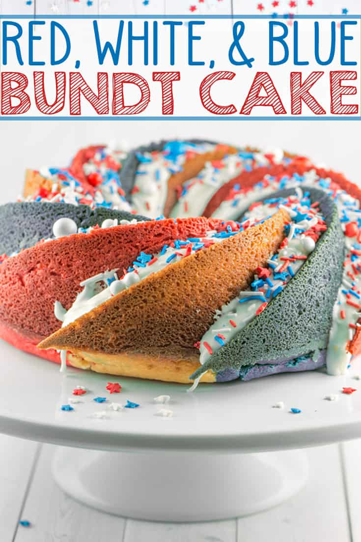 Red White and Blue Bundt Cake: This star-spangled patriotic spiral bundt cake will be the talk of your 4th of July Party! {Bunsen Burner Bakery} #cake #bundtcake #spiralcake #4thofJuly #independenceday #redwhiteandblue