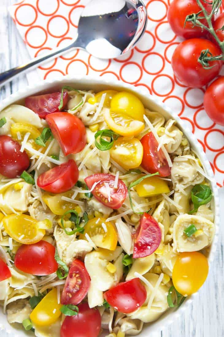 Tomato Basil Tortellini Salad: the perfect easy pasta salad to highlight freshly picked summer produce. Great for picnics, potlucks, barbecues, and potlucks! {Bunsen Burner Bakery}