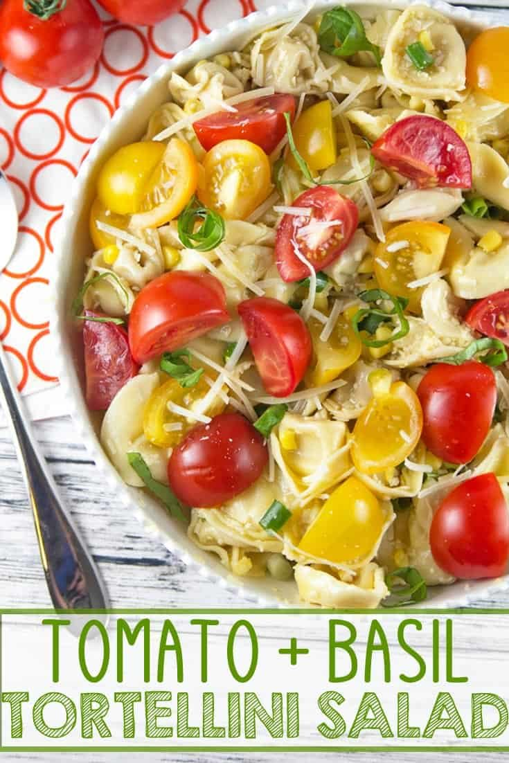 Tomato Basil Tortellini Salad: the perfect easy pasta salad to highlight freshly picked summer produce. Great for picnics, potlucks, barbecues, and potlucks! #bunsenburnerbakery #tortellinisalad #tomatoes #pasta #pastasalad
