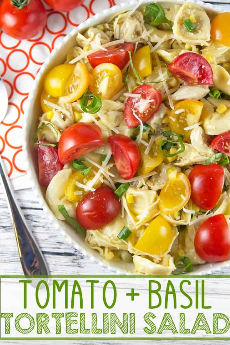 Tomato Basil Tortellini Salad: the perfect easy pasta salad to highlight freshly picked summer produce. Great for picnics, potlucks, barbecues, and potlucks! {Bunsen Burner Bakery} #tortellinisalad #tomatoes #pasta #pastasalad