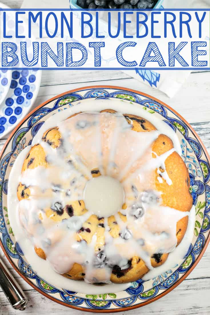 Lemon Blueberry Bundt Cake: the perfect vanilla pound cake, bursting with fresh blueberries and lemon zest, topped with a sweet lemon glaze. It's the perfect year-round treat! {Bunsen Burner Bakery} #cake #bundtcake #lemon #blueberries