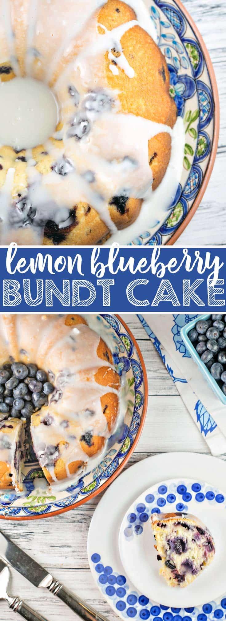 Lemon Blueberry Bundt Cake: the perfect vanilla pound cake, bursting with fresh blueberries and lemon zest, topped with a sweet lemon glaze. It's the perfect year-round treat! {Bunsen Burner Bakery}