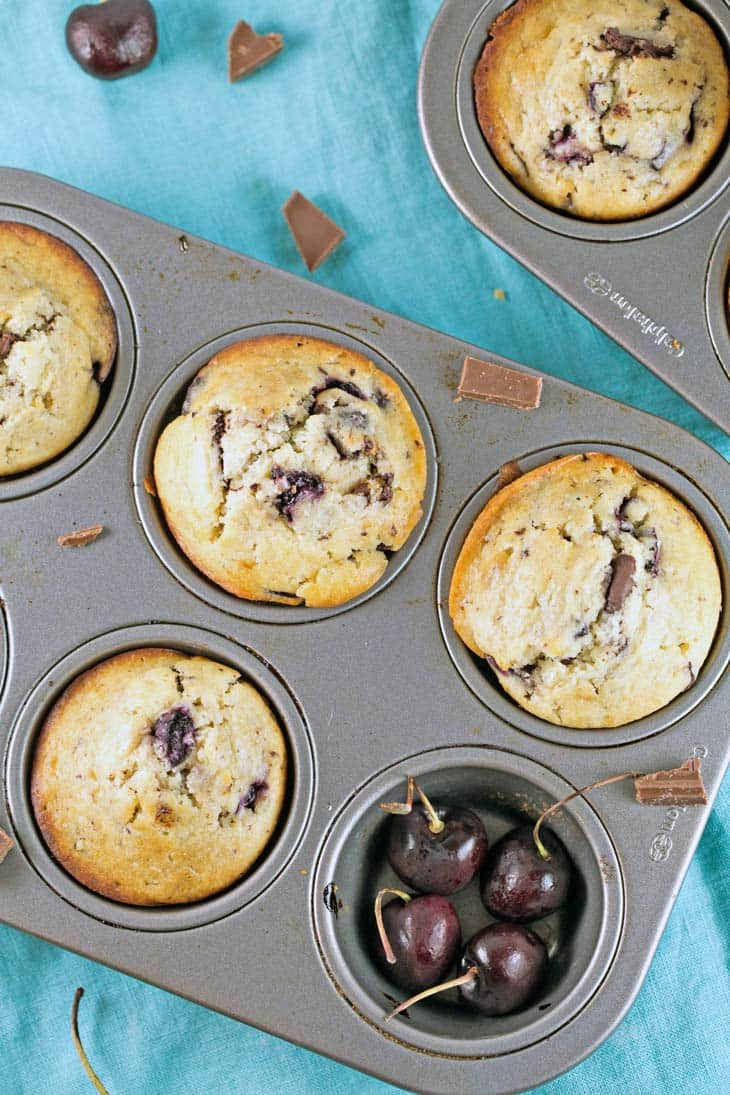 Cherry Chocolate Chunk Muffins: One bowl, mix by hand, filled with fresh cherries and dark chocolate chunks. The perfect summertime sweet treat! {Bunsen Burner Bakery}