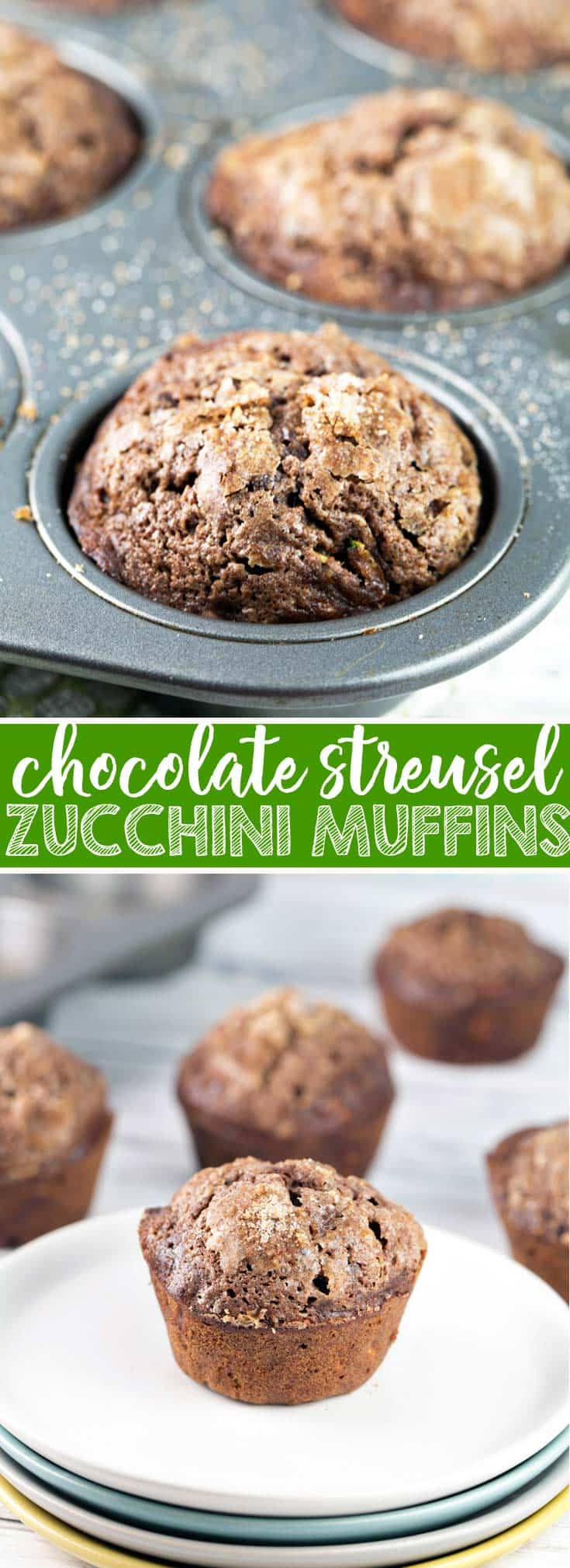 Streusel Topped Chocolate Zucchini Muffins: extra moist with a crackly topping and packed full of zucchini, these muffins are the most delicious way to eat your veggies! Freezer friendly and perfect to share! {Bunsen Burner Bakery}