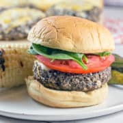 Mushroom Black Bean Burgers: Looking for the perfect veggie burger? Look no further than these gluten free mushroom black bean burgers. Sturdy enough to grill, but just as delicious cooked in a skillet. {Bunsen Burner Bakery}