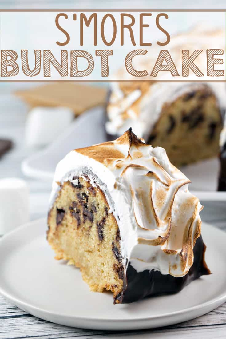 S'mores Bundt Cake: a graham cracker cake with chocolate ganache and homemade marshmallow fluff frosting toasted to a perfect brown. It's just like your childhood favorite - but even better! {Bunsen Burner Bakery} #cake #bundtcake #smores #smorescake
