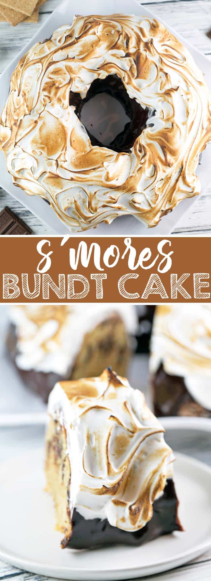 S'mores Bundt Cake: a graham cracker cake with chocolate ganache and homemade marshmallow fluff frosting toasted to a perfect brown. It's just like your childhood favorite - but even better! {Bunsen Burner Bakery}