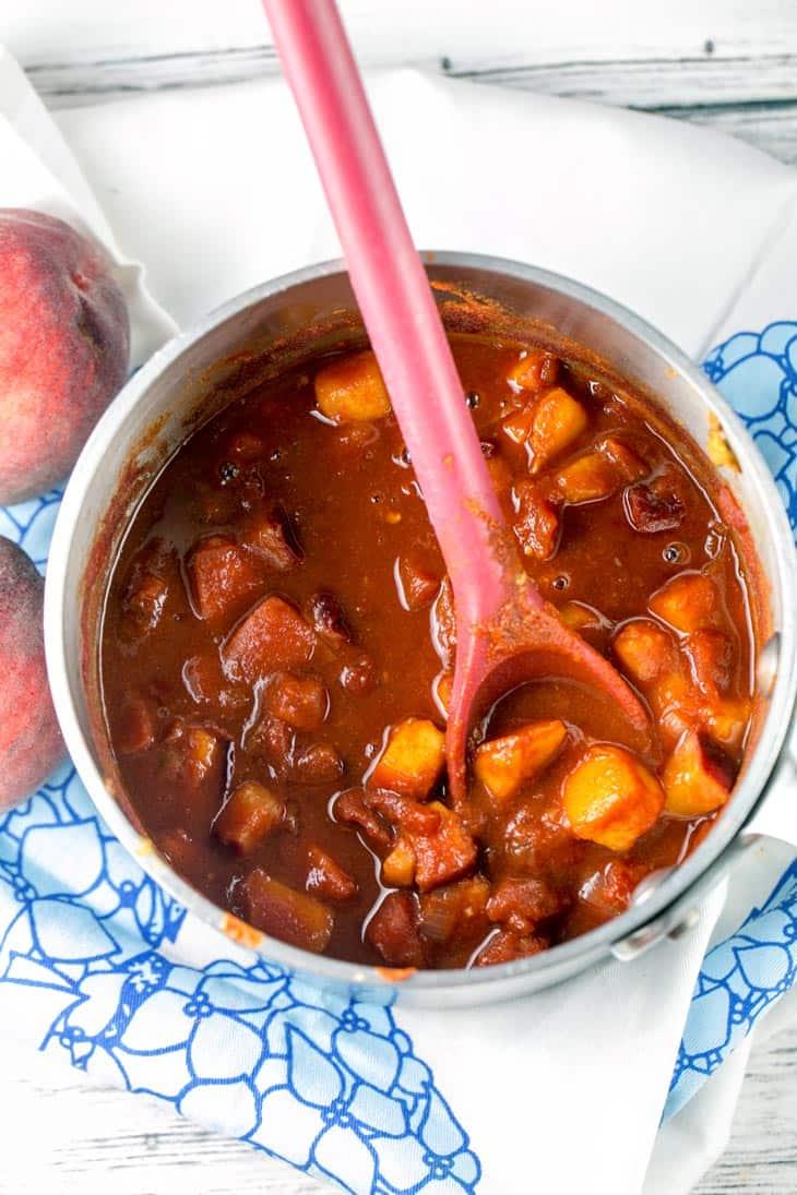 Spicy Whiskey Peach BBQ Sauce | Bunsen Burner Bakery