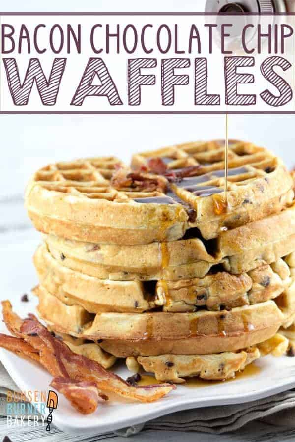Bacon Chocolate Chip Waffles: Take your brunch to the next level with this crowd pleasing salty-sweet winning combination. #bunsenburnerbakery #waffles #breakfast #brunch #bacon