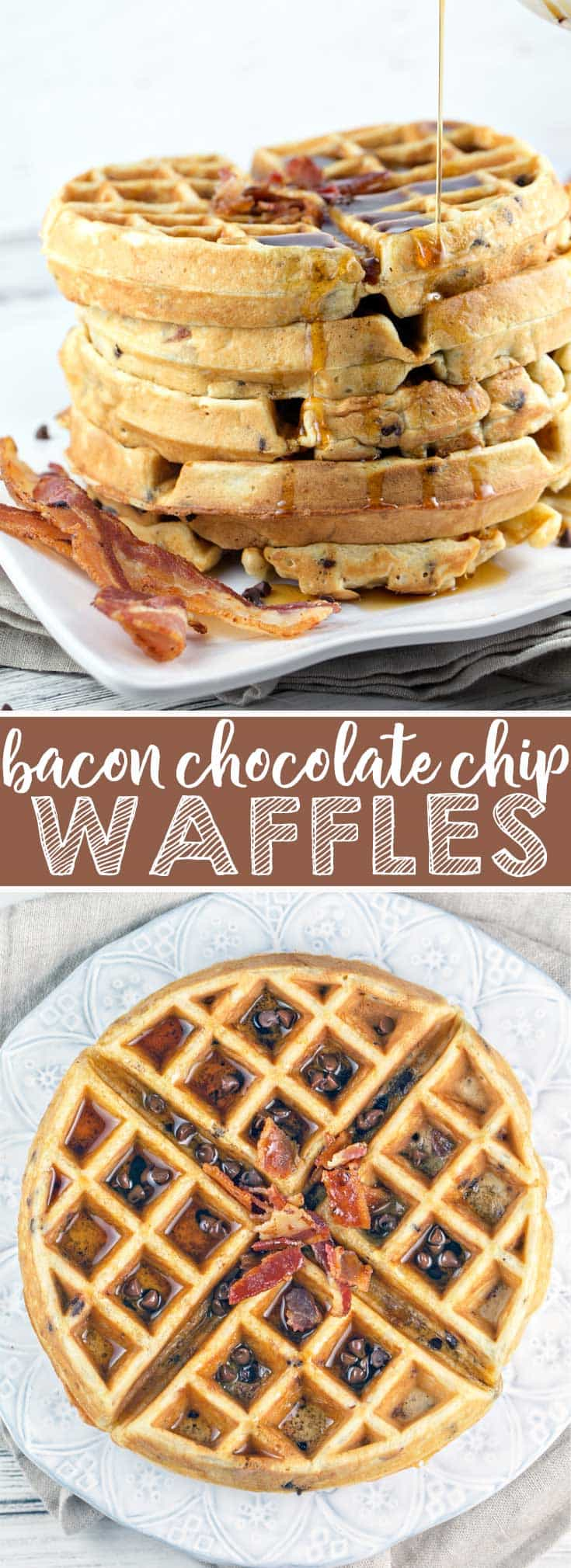Bacon Chocolate Chip Waffles: Take your brunch to the next level with this crowd pleasing salty-sweet winning combination. {Bunsen Burner Bakery}