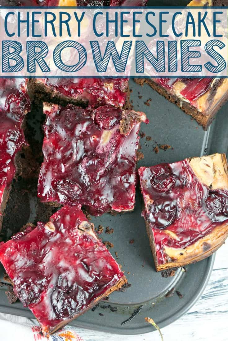 Cherry Cheesecake Brownies: made entirely from scratch with thick, fudgy brownies, a creamy layer of cheesecake batter, and homemade cherry pie filling on top. {Bunsen Burner Bakery} #brownies #cheesecake #cherrycheesecake #cheesecakebrownies