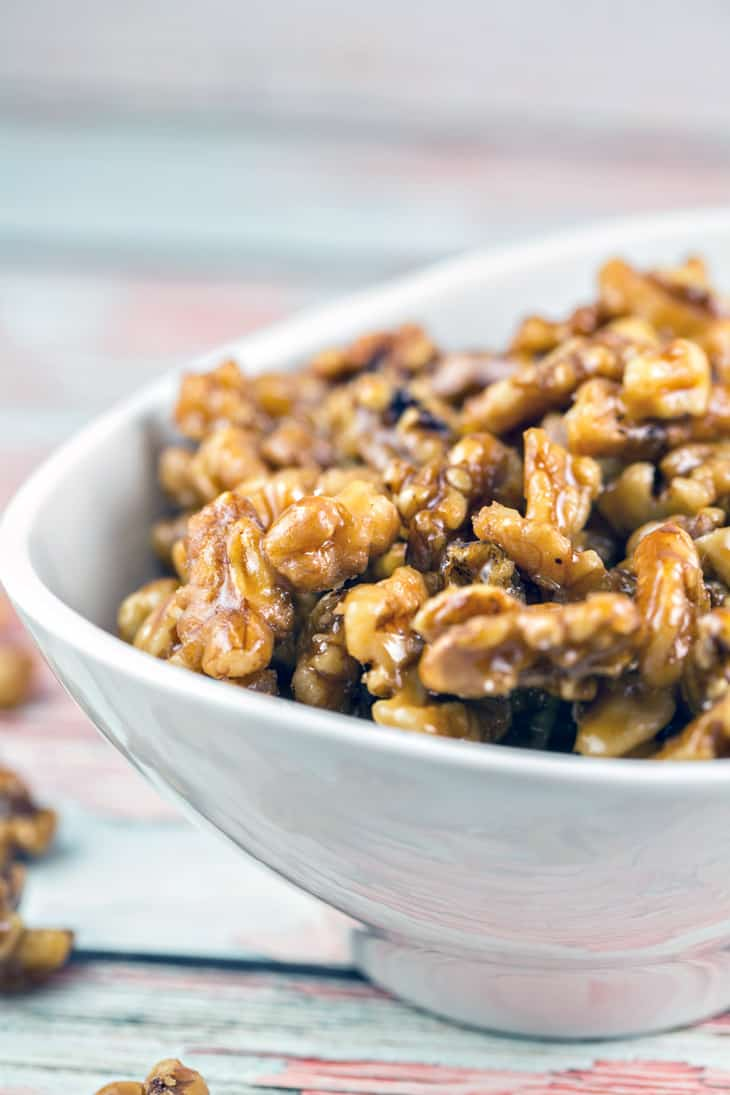Maple Glazed Walnuts: An easy 5 minute, 4 ingredient recipe for gluten free and vegan toasted walnuts glazed with maple syrup. Perfect for a snack, topping a salad, or embellishing a dessert all year long. {Bunsen Burner Bakery}