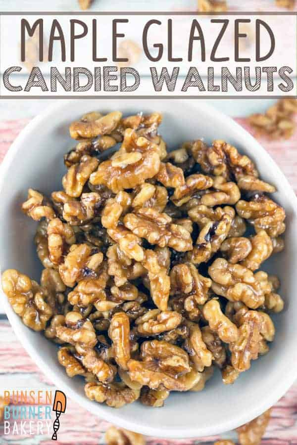 Maple Glazed Walnuts: An easy 5 minute, 4 ingredient recipe for gluten free and vegan toasted walnuts glazed with maple syrup. Perfect for a snack, topping a salad, or embellishing a dessert all year long. #bunsenburnerbakery #walnuts #candiednuts #glutenfree #vegan #paleo