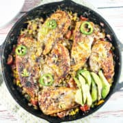 Cheesy Japapeño Chicken Skillet: The perfect quick and easy 30 minute, one pan, weeknight dinner! Mexican | Gluten Free | One Pan | 30 Minute Meals | Dinner {Bunsen Burner Bakery}