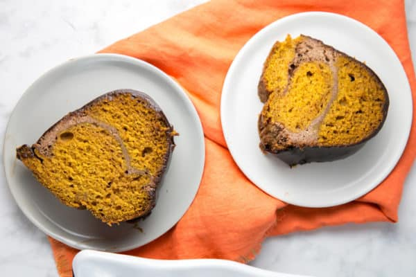 Cream Cheese Swirl Pumpkin Bundt Cake: Make pumpkin bread even better by turning it into a cinnamon cream cheese swirled, chocolate ganache covered, pumpkin bundt cake! Perfect for brunch or dessert, this sky-high bundt cake is just waiting for all your fall celebrations. {Bunsen Burner Bakery}