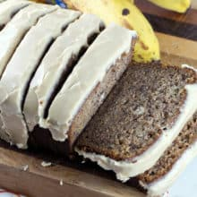 Maple Glazed Banana Bread: an extra moist, extra cinnamon-y banana bread, covered in a delicious maple glaze, made with real maple syrup. A delicious fall twist to a crowd-pleasing favorite. {Bunsen Burner Bakery}