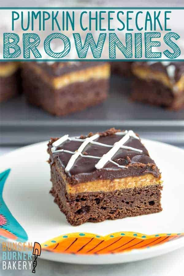 Pumpkin Cheesecake Brownies: Easy homemade brownies topped with smooth and creamy pumpkin cheesecake. The perfect fall dessert! #bunsenburmerbakery #brownies #cheesecake #pumpkinbrownies