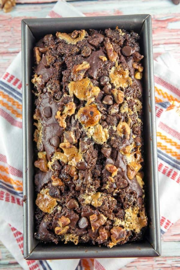 Rocky Road Banana Bread: Shake up your banana bread with chocolate chips, walnuts, and marshmallows. An unexpected, delicious, chocolatey hit! #bananabread #quickbread #baking #breakfast #rockyroad {Bunsen Burner Bakery}
