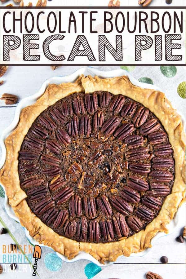 Chocolate Bourbon Pecan Pie: rich and decadent, this is an easy, crowd pleasing dessert, perfect for your holiday table... or any time of year! #bunsenburnerbakery #pie #pecanpie #chocolate #bourbon #Thanksgiving