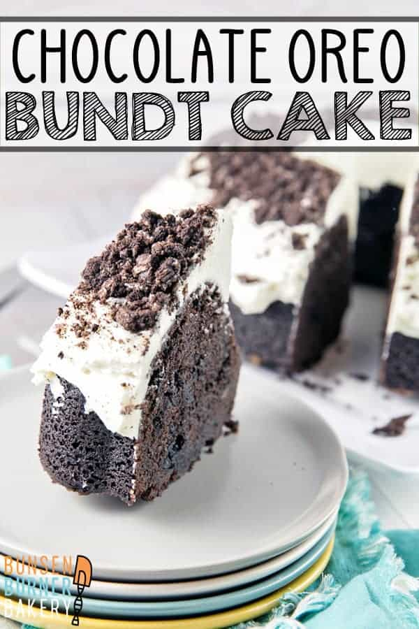 Cookies and Cream Oreo Bundt Cake: the ultimate deep, dark, rich chocolate cake, full of chopped oreos and covered in marshmallow butter cream frosting. #bunsenburnerbakery #cake #bundtcake #oreocake #oreos