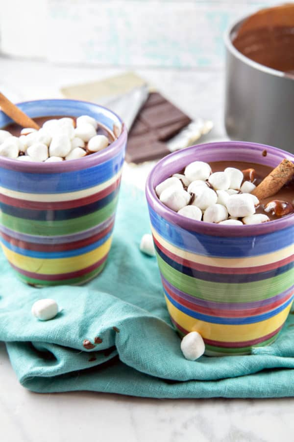 Decadently Thick Hot Chocolate: The richest, most decadently thick hot chocolate imaginable. Warm up from the cold with a mug of the ultimate melted chocolate treat! {Bunsen Burner Bakery} #chocolate #hotchocolate #hotcocoa #drinks #winter