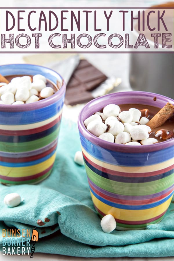Decadently Thick Hot Chocolate: The richest, most decadently thick hot chocolate imaginable. Warm up from the cold with a mug of the ultimate melted chocolate treat! #bunsenburnerbakery #chocolate #hotchocolate #hotcocoa #drinks #winter