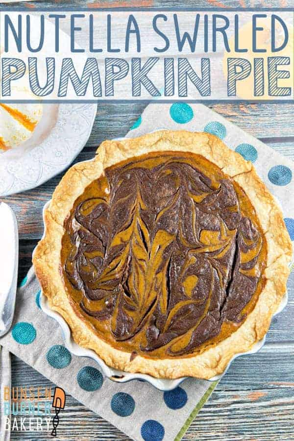 Nutella Swirled Pumpkin Pie: take your classic pumpkin pie and give it a little upgrade with decadent swirls of rich nutella. #bunsenburnerbakery #pie #pumpkinpie #nutella #Thanksgiving