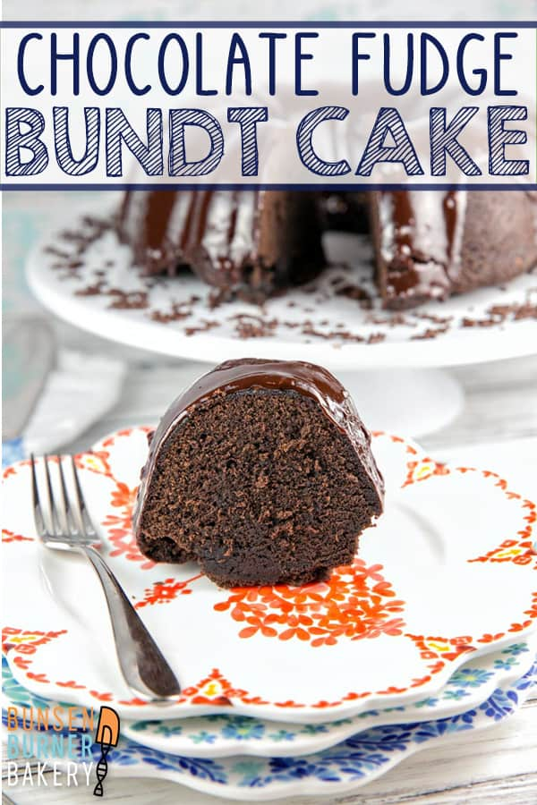 Chocolate Fudge Bundt Cake: a rich, moist, fudgy made from scratch chocolate cake, covered with ganache. An easy enough recipe for everyday, but delicious enough for a birthday or celebration! #bunsenburnerbakery #cake #chocolatecake #bundtcake #fudgecake