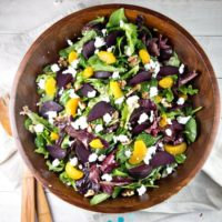 Roasted Beet Salad with Mandarin Oranges and Goat Cheese