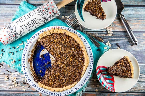 Chocolate Oatmeal Molasses Pie: spicy molasses paired with a chewy oatmeal cookie texture and a chocolate-ganache lined pie crust. The perfect winter pie! {Bunsen Burner Bakery}