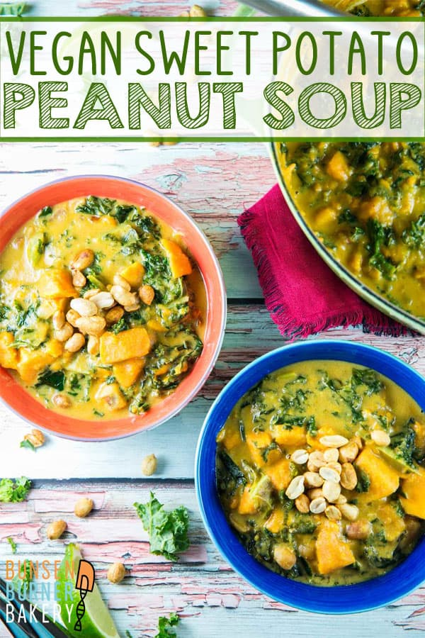 Vegan Sweet Potato Peanut Soup: spicy gluten free and vegan soup, combining West African peanut soup with southeastern Asian flavors. Full of sweet potatoes, peanuts, spicy peppers, and kale. #bunsenburnerbakery #soup #vegan #glutenfree