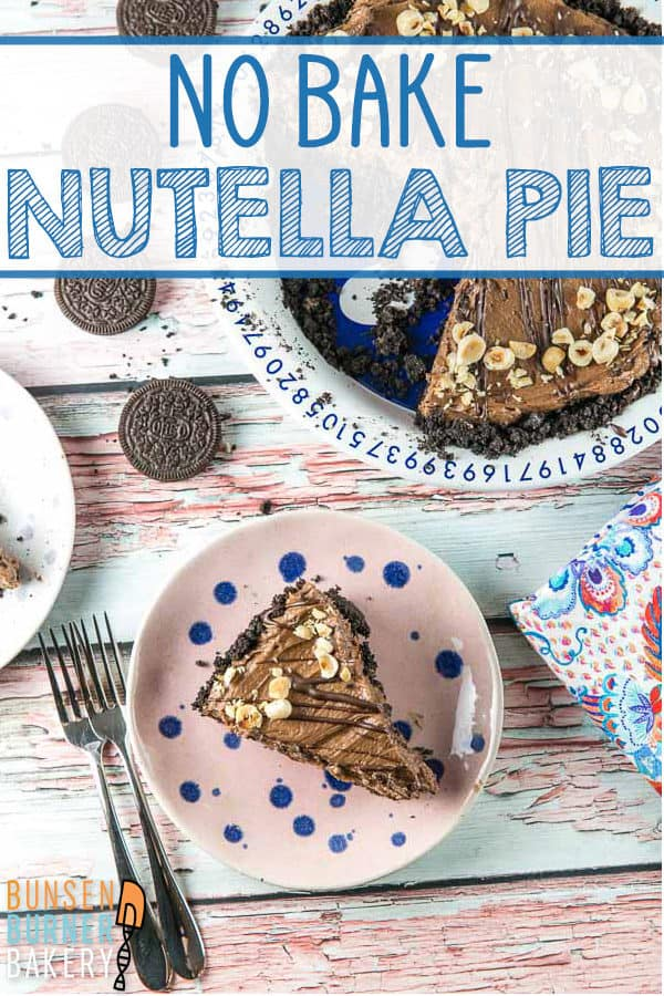 No Bake Nutella Pie: This four ingredient nutella pie recipe is SO EASY but still fancy enough for a special occasion. With a chocolate oreo crust and a 5 minute filling (with no cream cheese!) this will be one your favorite recipes. #bunsenburnerbakery #pie #nutellapie #nutella #nobake #nobakepies