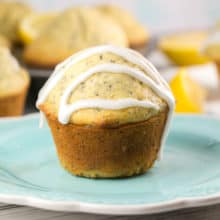 Glazed Lemon Poppy Seed Muffins: the perfect sweet-tart treat for breakfast, a mid-afternoon snack, or a light dessert. {Bunsen Burner Bakery} #muffins #lemon #lemonpoppyseed #glazed
