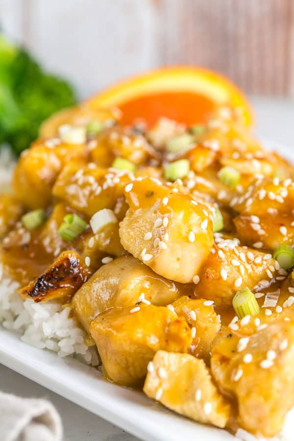 Instant Pot Orange Chicken: Skip ordering Chinese and make your own at home with this easy and quick Instant Pot orange chicken recipe. {Bunsen Burner Bakery} #instantpot #pressurecooker #orangechicken #homemadechinese