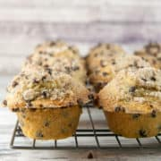 Chocolate Chip Streusel Muffins: filled with chocolate chips and covered with a crunchy, chocolatey streusel topping, these muffins are perfect any time of day. Plus tips for baking jumbo-sized bakery style muffins at home! {bunsenburnerbakery.com} #muffins #chocolatechips