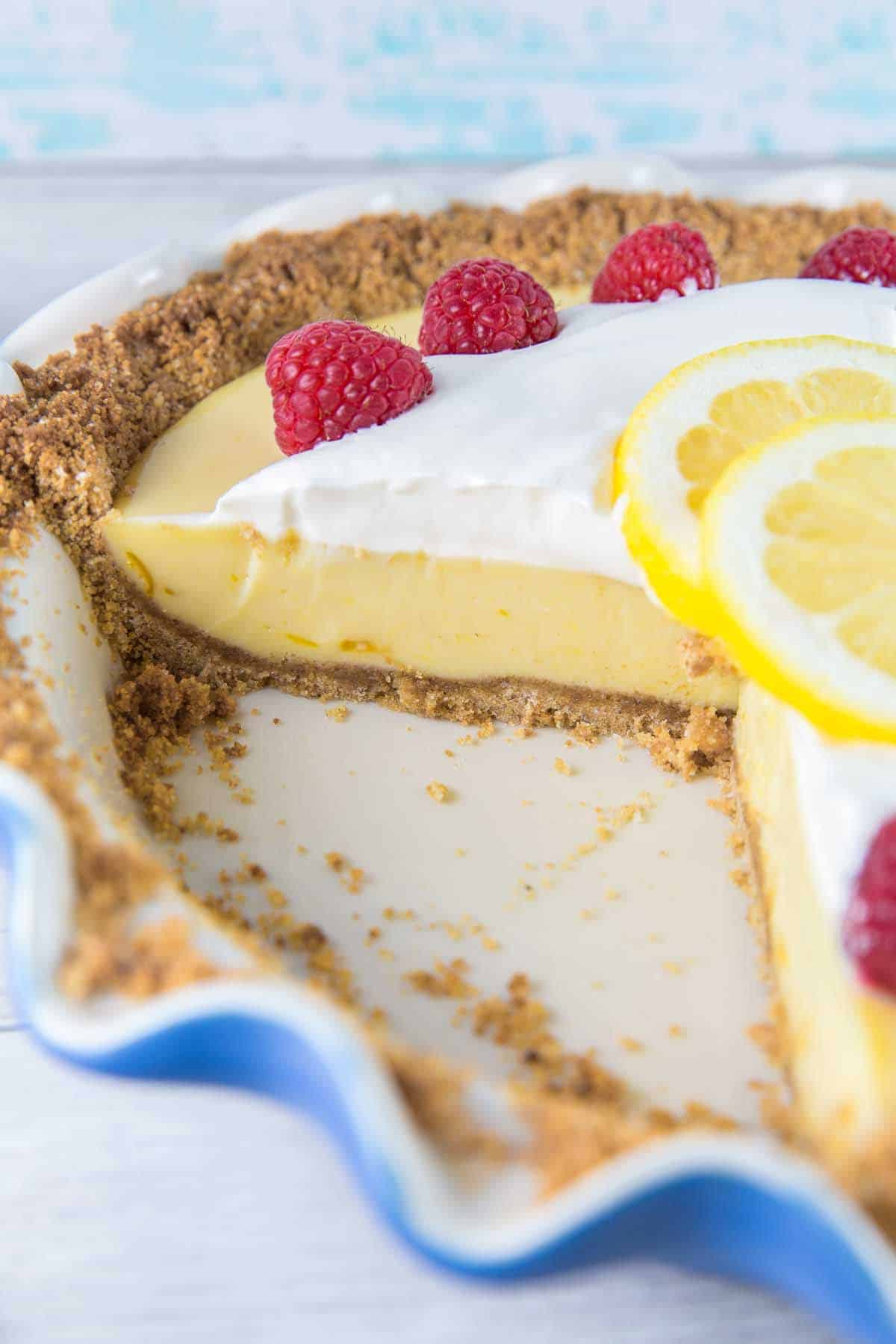 Lemon Pie: Silky smooth and sweet-tart, this easy make-ahead lemon pie is the perfect spring and summer dessert. Only 3 ingredients for a delicious baked lemon custard! {Bunsen Burner Bakery} #pie #lemonpie #easydesserts