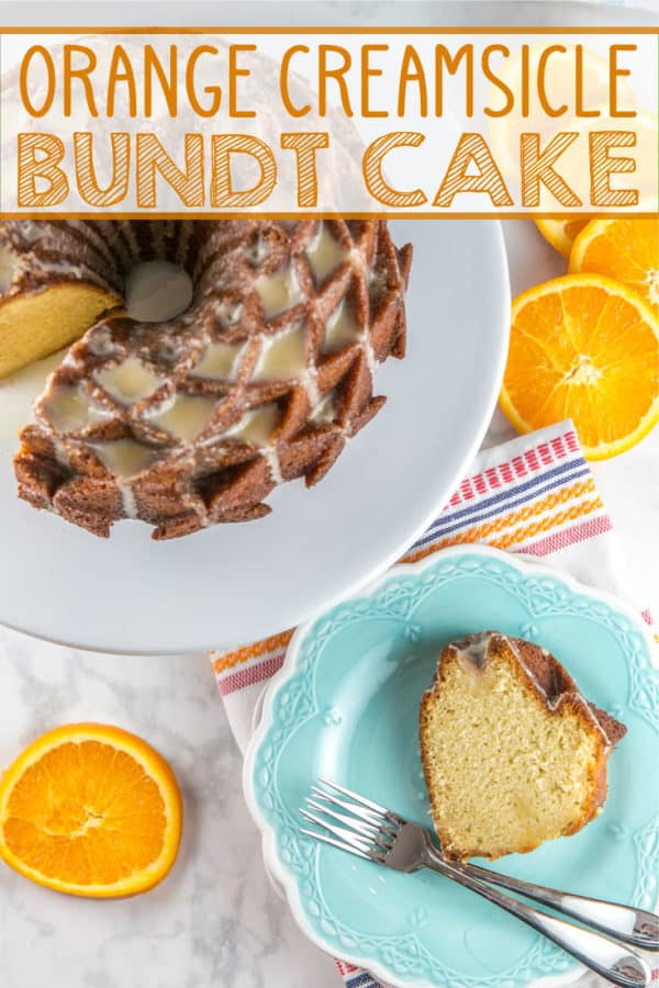 Orange Creamsicle Bundt Cake: the classic childhood flavor, all grown up as a bundt cake. Orange and vanilla combine to make an extra moist, extra delicious cake, perfect for celebrating!