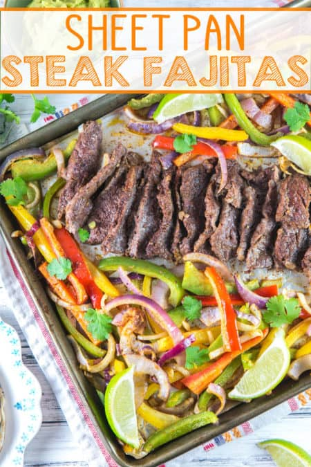 Sheet Pan Steak Fajitas: 20 minutes and one sheet pan are all you need for this easy make ahead weeknight dinner! {bunsenburnerbakery.com} #fajitas #steakfajitas #sheetpan #glutenfree #dinner #weeknightdinners