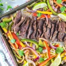Sheet Pan Steak Fajitas: 20 minutes and one sheet pan are all you need for this easy make ahead weeknight dinner! {bunsenburnerbakery.com} #fajitas #steakfajitas #sheetpan #glutenfree