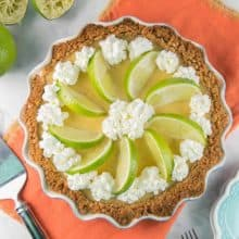 Tequila Lime Margarita Pie: Enjoy your margarita in dessert form, with a silky smooth lime custard made with tequila and triple sec and a salted graham crust. Make ahead for easy entertaining! {bunsenburnerbakery.com} #pie #margaritapie #cincodemayo #mexican