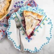 a slice of blueberry rhubarb pie on a floral dessert plate