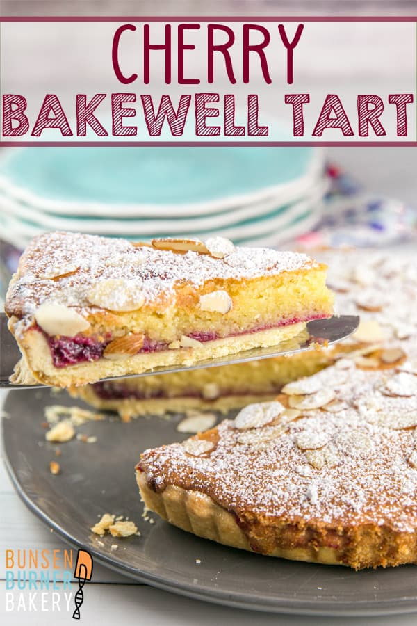Cherry Bakewell Tart: a buttery shortbread crust, cherry jam, and almond frangipane sponge combine for a perfect not-so-sweet dessert or breakfast treat. #bunsenburnerbakery #bakewelltart #bakewell #almond #dessert #breakfast