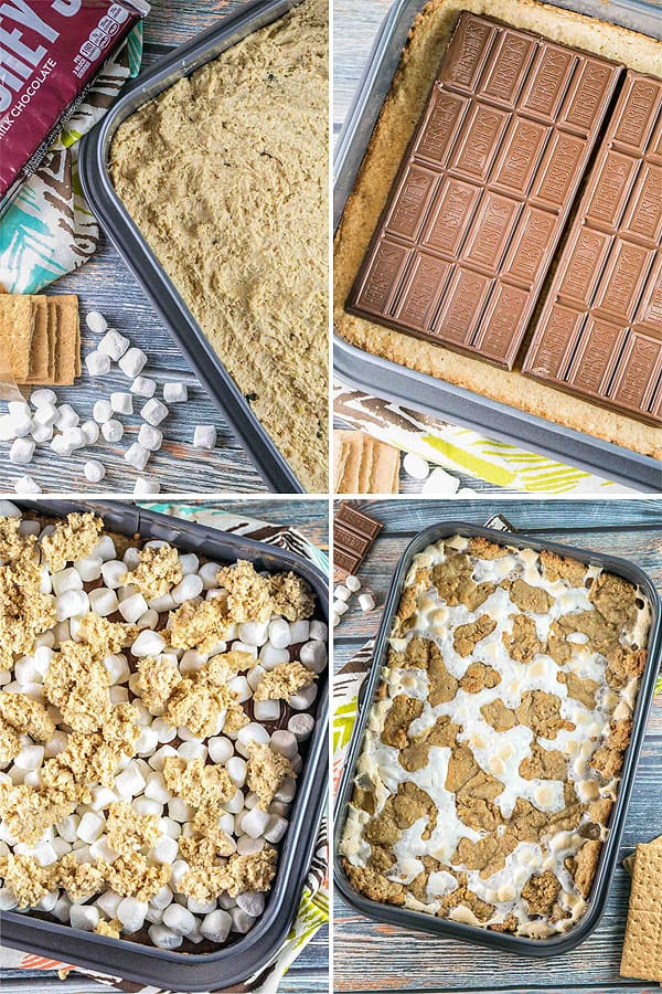 step by step photos showing layers of graham cracker cookie crust, chocolate bars, marshmallows, and final baked s'mores bars