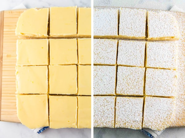 before and after photos showing lemon pie bars with and without a dusting of powdered sugar