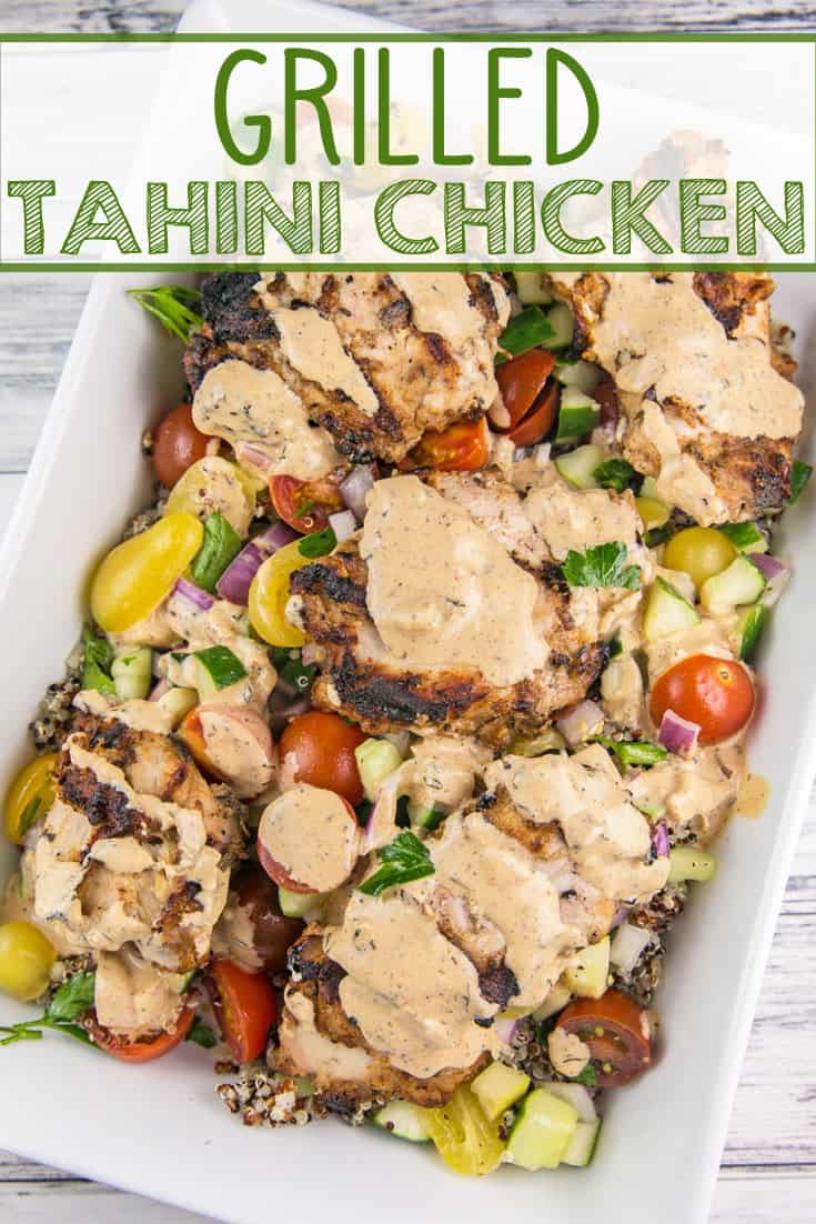 Grilled Tahini Chicken: chicken thighs in a creamy, allergy-friendly, Middle Eastern tahini sauce. Quick and easy on the grill or in the oven. Dairy free, nut free, soy free, gluten free.