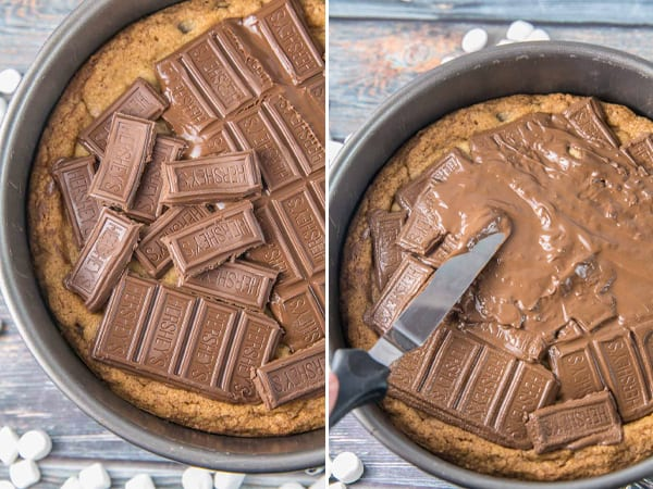 two picture panel showing melting chocolate on a warm cookie cake and spreading the chocolate with a spatula