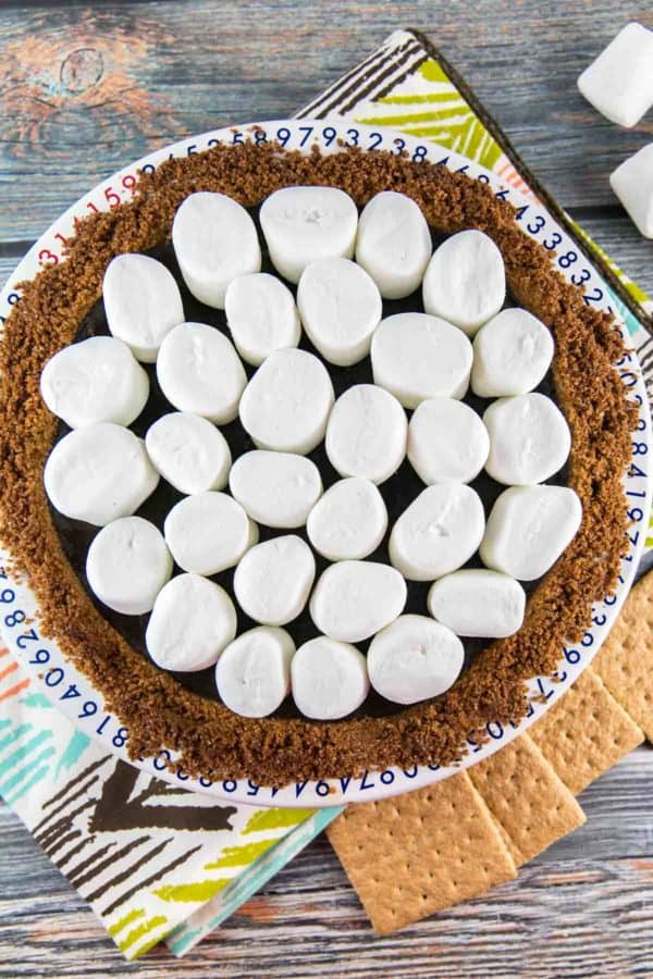 baked chocolate pie with jumbo marshmallows on top waiting to be toasted