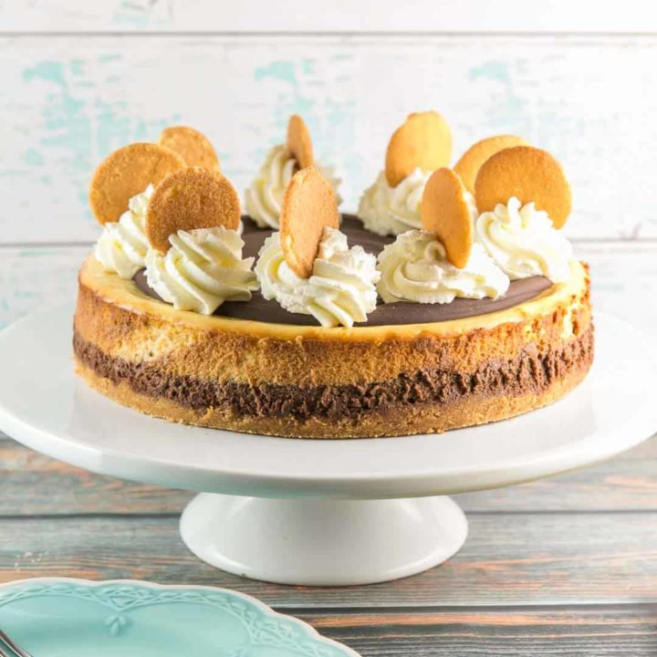 Chocolate Banana Cheesecake: A decadently rich cheesecake made with layers of dark chocolate and banana cream cheesecake. Plus all the tips you need for a perfect cheesecake every time! #bunsenburnerbakery #cheesecake #chocolatecheesecake #bananacheesecake